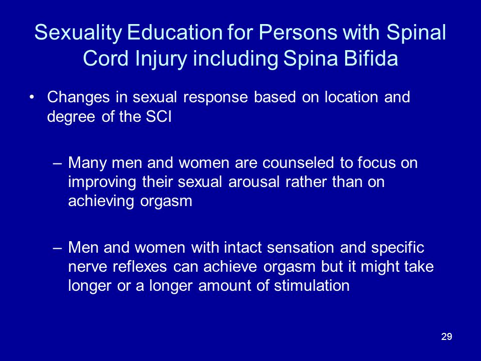 Sexuality Education for Persons with Spinal Cord Injury including Spina Bifida