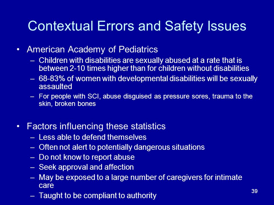 Contextual Errors and Safety Issues