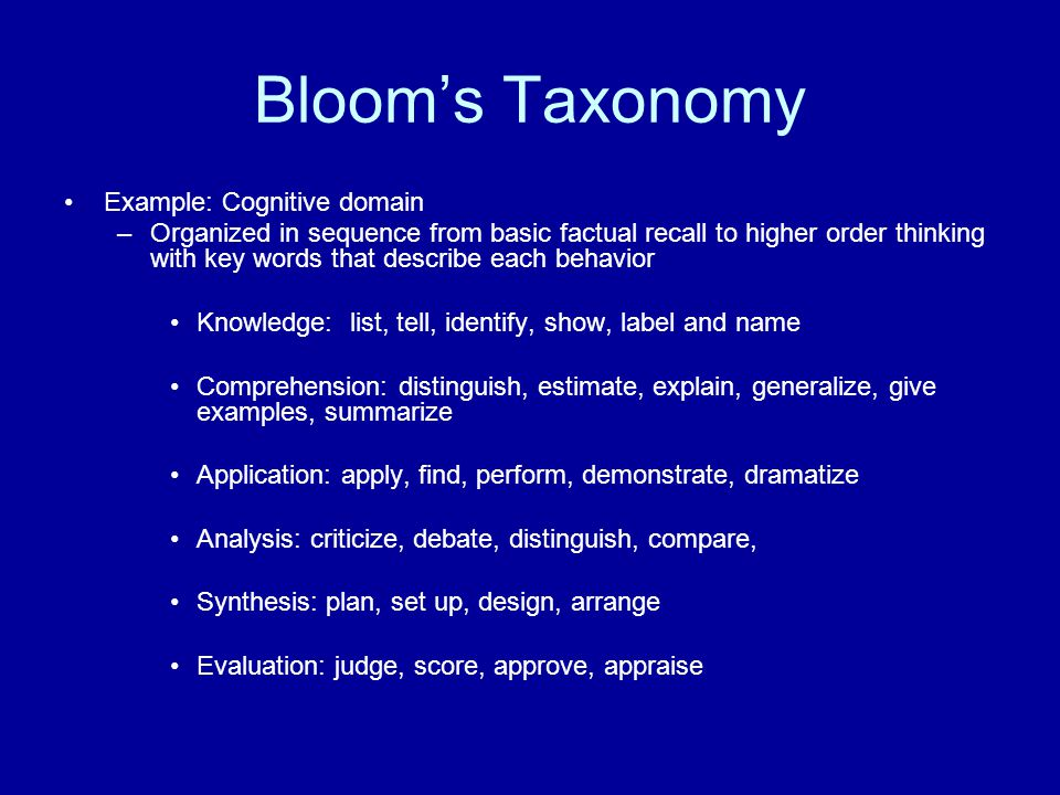 Bloom's Taxonomy Example: Cognitive domain