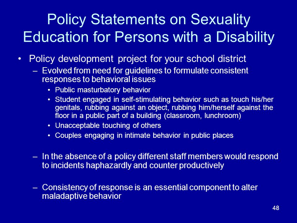 Policy Statements on Sexuality Education for Persons with a Disability
