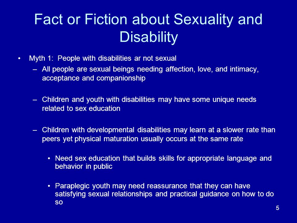 Fact or Fiction about Sexuality and Disability