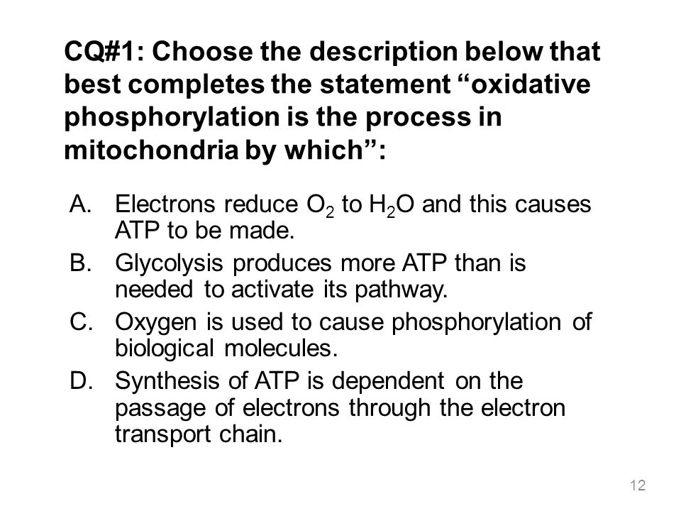 CQ#1: Choose the description below that best completes the statement oxidative phosphorylation is the process in mitochondria by which :