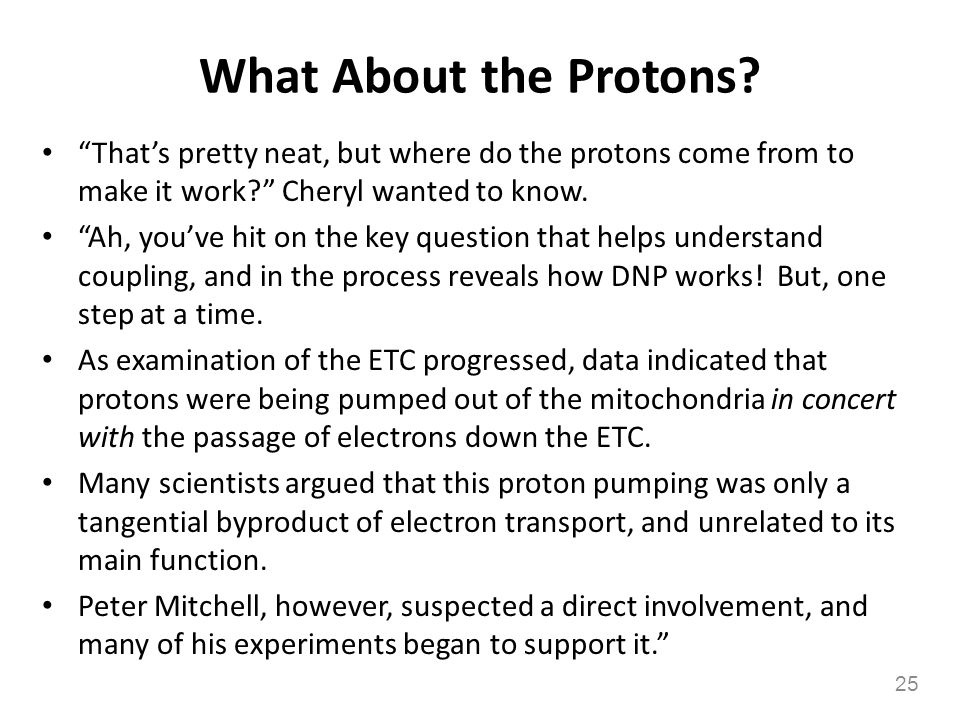 What About the Protons That's pretty neat, but where do the protons come from to make it work Cheryl wanted to know.