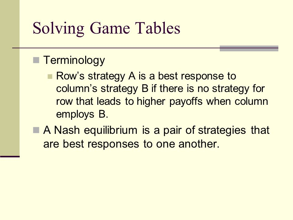 Solving Game Tables Terminology