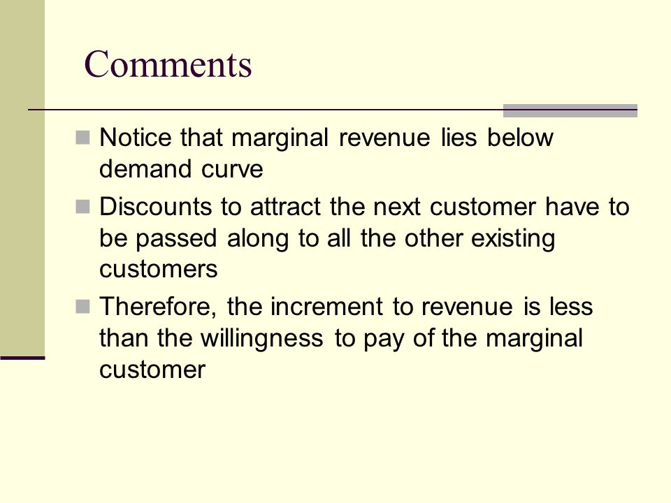 Comments Notice that marginal revenue lies below demand curve