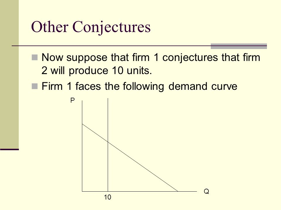 Other Conjectures Now suppose that firm 1 conjectures that firm 2 will produce 10 units. Firm 1 faces the following demand curve.