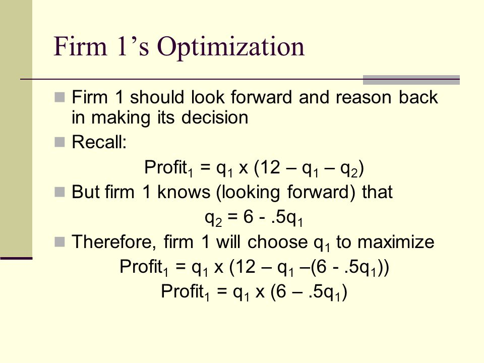 Firm 1's Optimization Firm 1 should look forward and reason back in making its decision. Recall: Profit1 = q1 x (12 – q1 – q2)