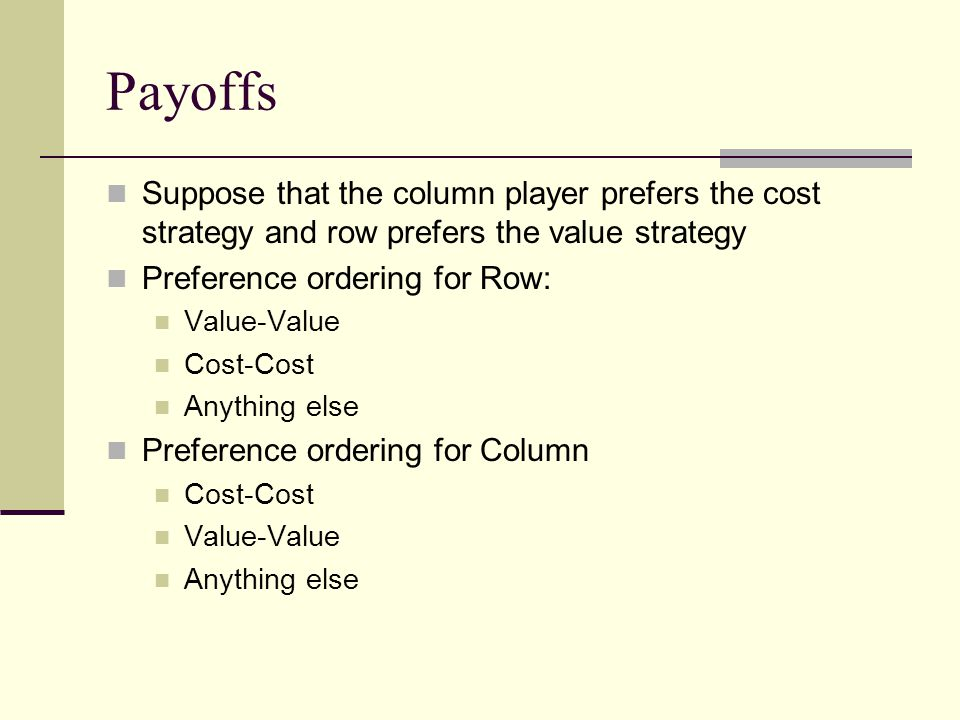 Payoffs Suppose that the column player prefers the cost strategy and row prefers the value strategy.