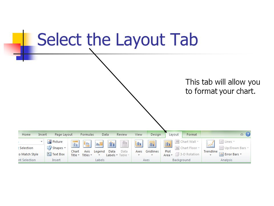 Select the Layout Tab This tab will allow you to format your chart.