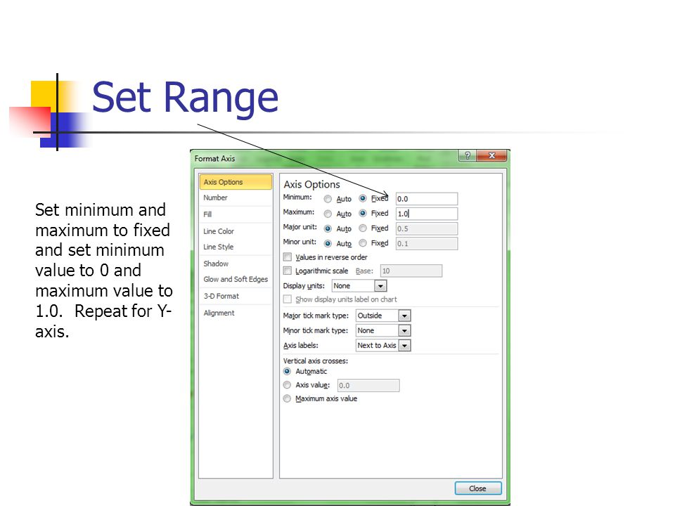 Set Range Set minimum and maximum to fixed and set minimum value to 0 and maximum value to 1.0.