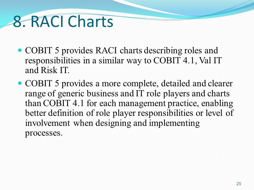 8. RACI Charts COBIT 5 provides RACI charts describing roles and responsibilities in a similar way to COBIT 4.1, Val IT and Risk IT.