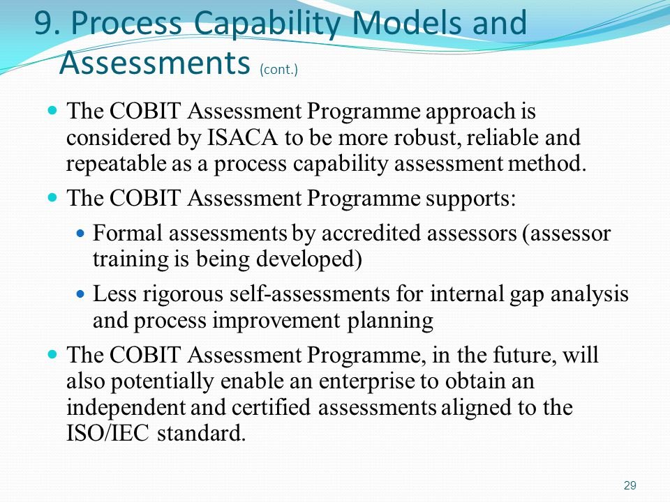 9. Process Capability Models and Assessments (cont.)