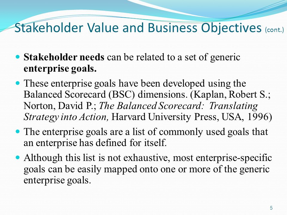 Stakeholder Value and Business Objectives (cont.)
