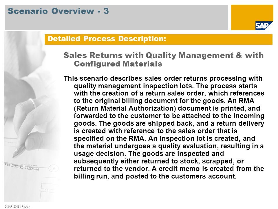 Scenario Overview - 3 Detailed Process Description: Sales Returns with Quality Management & with Configured Materials.
