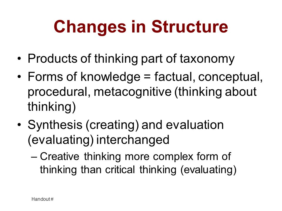Changes in Structure Products of thinking part of taxonomy