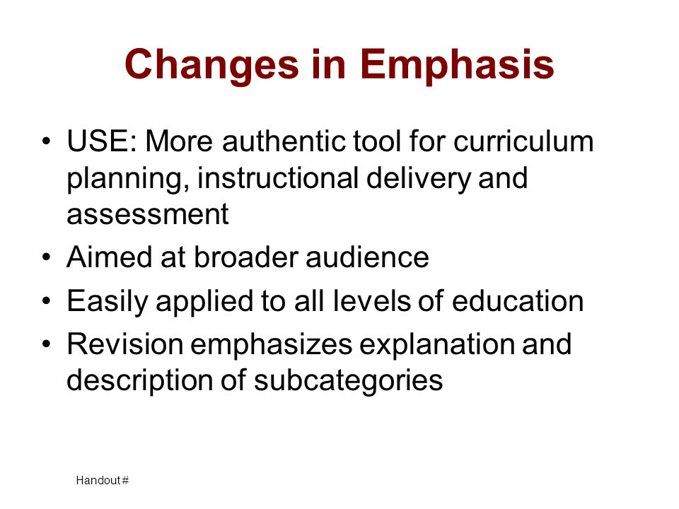 Changes in Emphasis USE: More authentic tool for curriculum planning, instructional delivery and assessment.