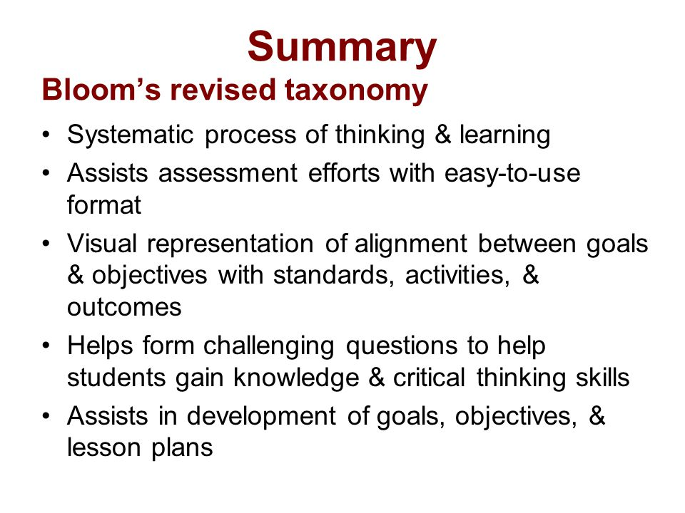 Summary Bloom's revised taxonomy