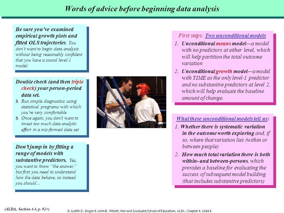 Words of advice before beginning data analysis