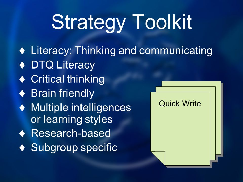Strategy Toolkit Literacy: Thinking and communicating DTQ Literacy