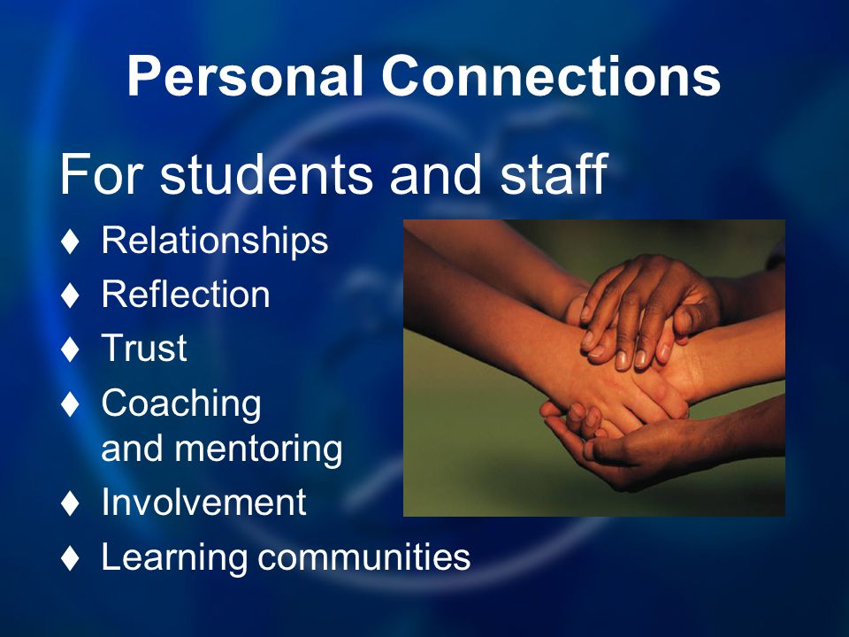 Personal Connections For students and staff Relationships Reflection