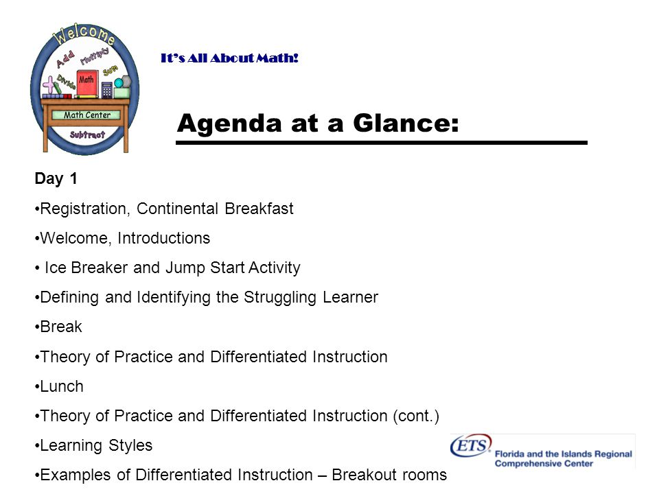 Agenda at a Glance: Day 1 Registration, Continental Breakfast