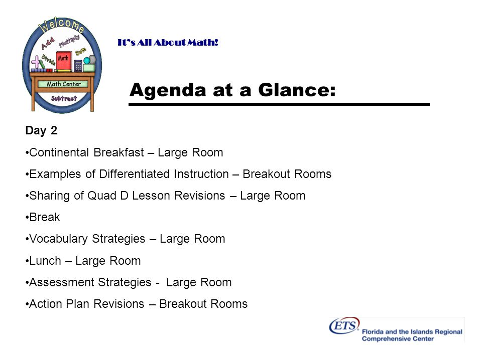 Agenda at a Glance: Day 2 Continental Breakfast – Large Room