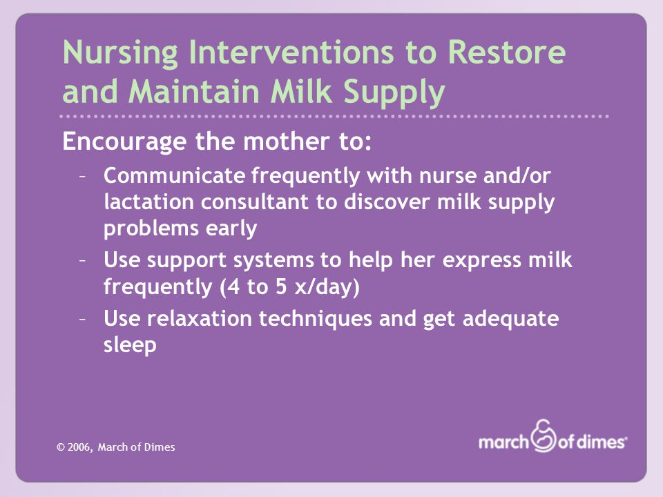 Nursing Interventions to Restore and Maintain Milk Supply