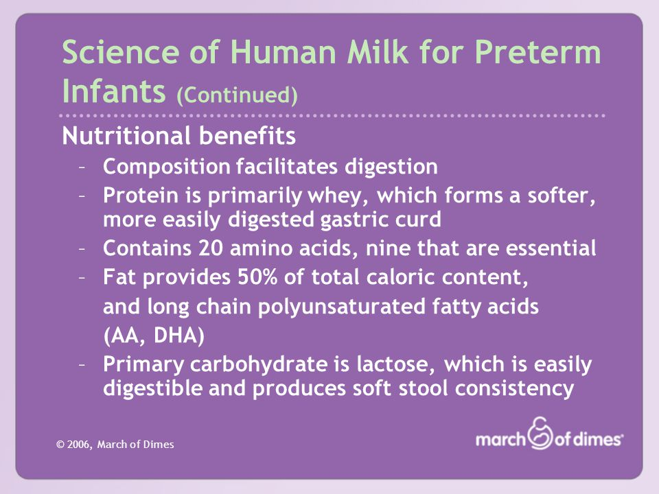 Science of Human Milk for Preterm Infants (Continued)