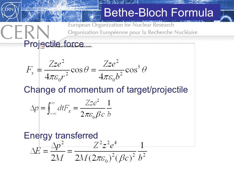 Bethe-Bloch Formula Projectile force
