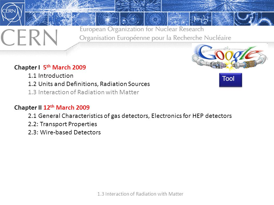 Chapter I 5th March 2009 1.1 Introduction. 1.2 Units and Definitions, Radiation Sources. 1.3 Interaction of Radiation with Matter.