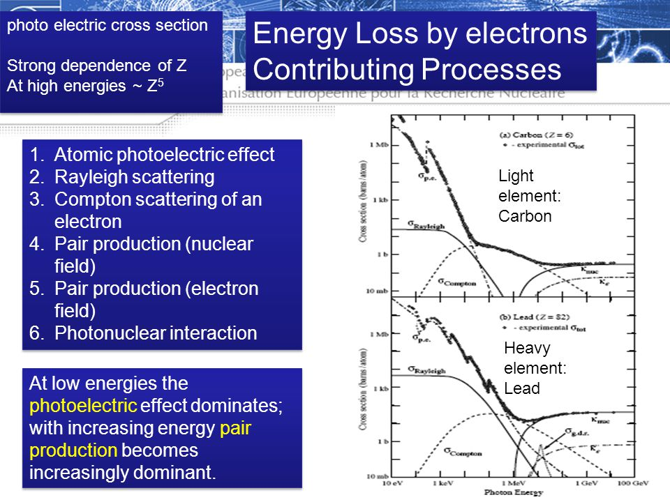 Energy Loss by electrons Contributing Processes