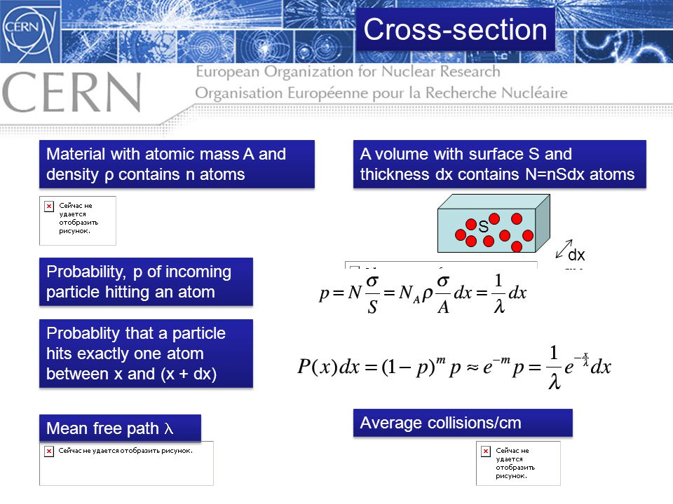 Cross-section Material with atomic mass A and density ρ contains n atoms. A volume with surface S and thickness dx contains N=nSdx atoms.