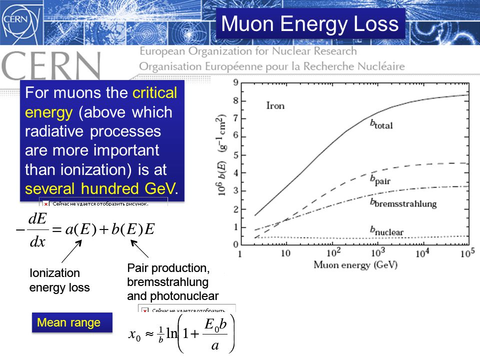 Muon Energy Loss For muons the critical energy (above which radiative processes are more important than ionization) is at several hundred GeV.