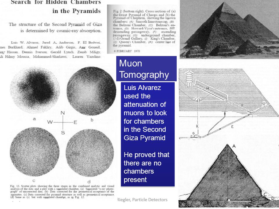 Muon Tomography Luis Alvarez used the attenuation of muons to look for chambers in the Second Giza Pyramid.