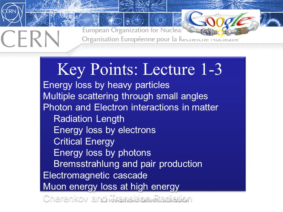 Key Points: Lecture 1-3 Energy loss by heavy particles
