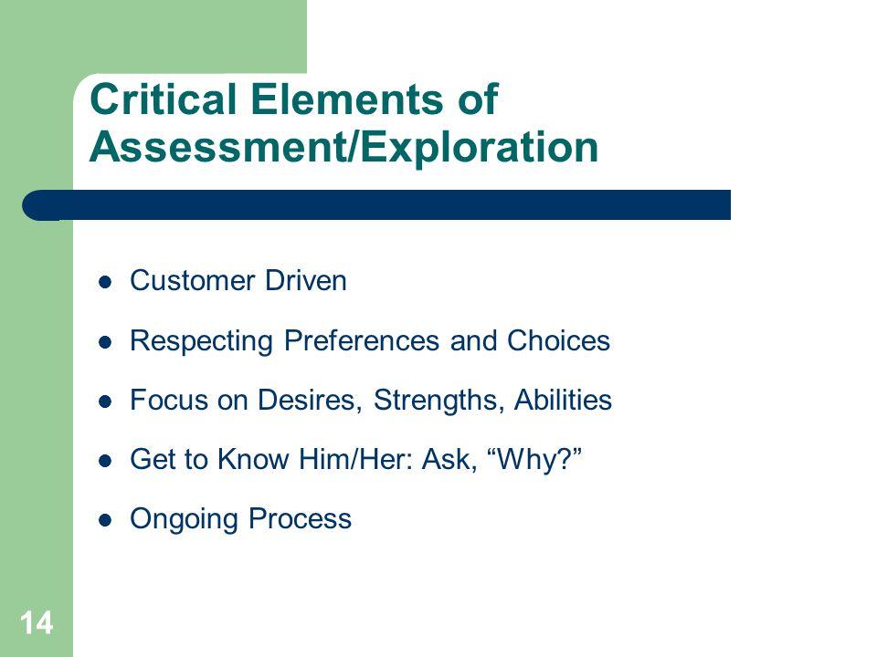 Critical Elements of Assessment/Exploration