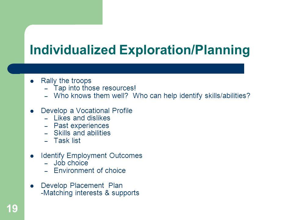 Individualized Exploration/Planning