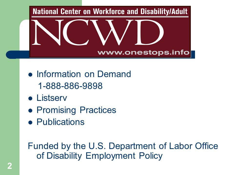 Information on Demand 1-888-886-9898 Listserv Promising Practices