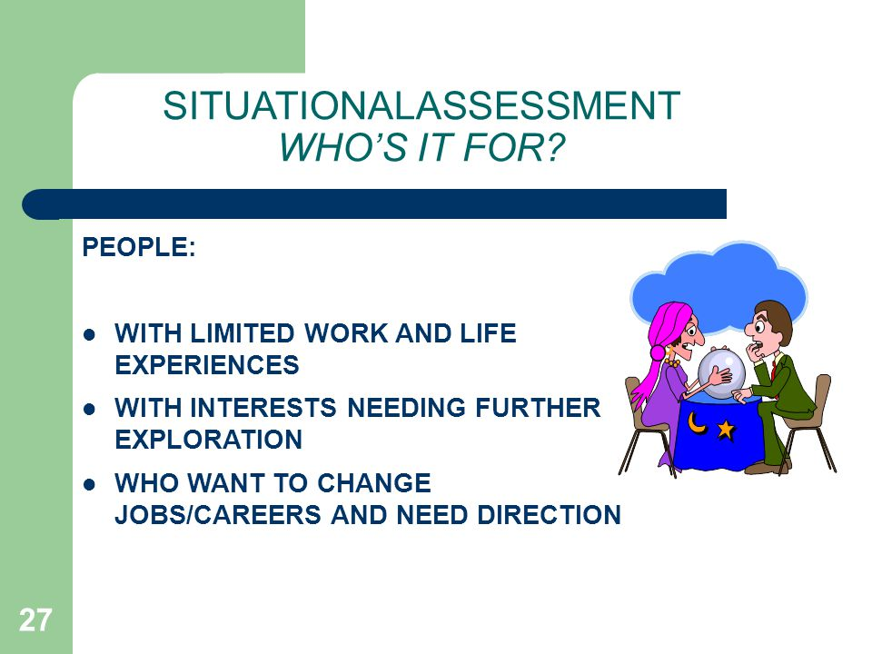 SITUATIONALASSESSMENT WHO'S IT FOR