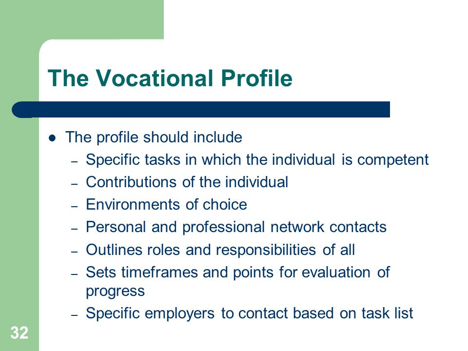 The Vocational Profile