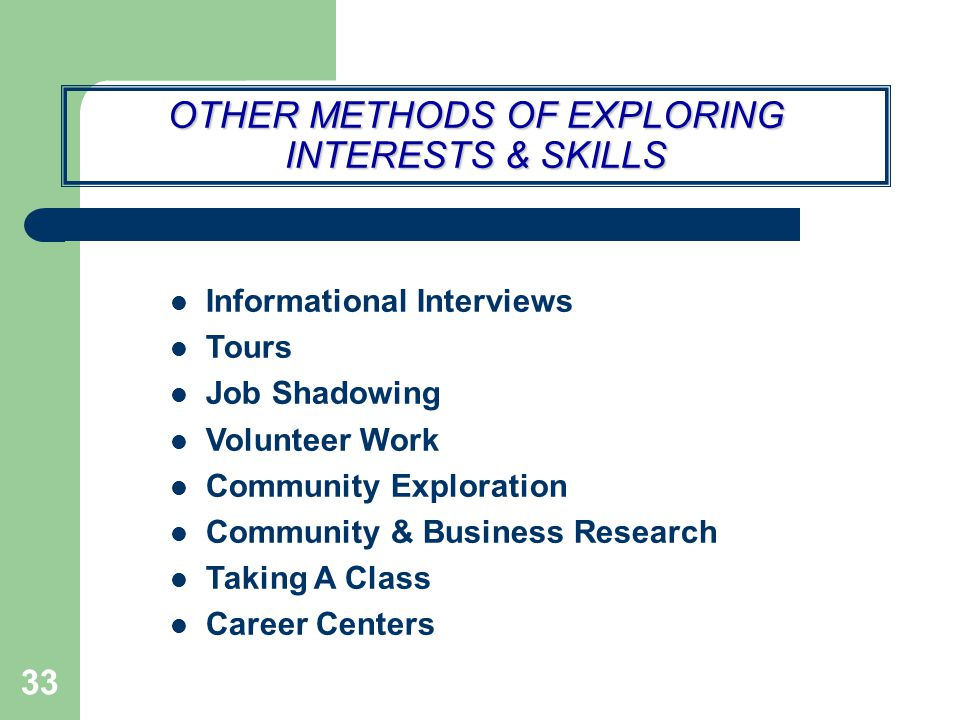 OTHER METHODS OF EXPLORING INTERESTS & SKILLS