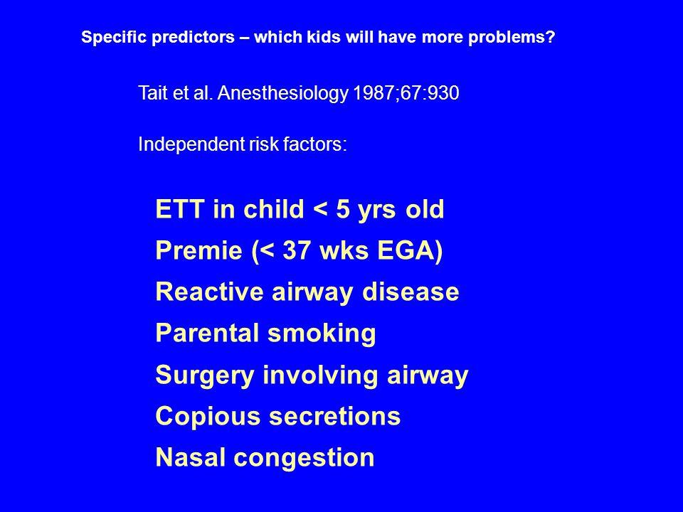 ETT in child < 5 yrs old Premie (< 37 wks EGA)