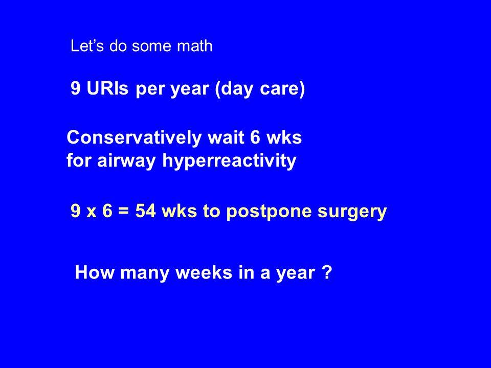 9 URIs per year (day care)