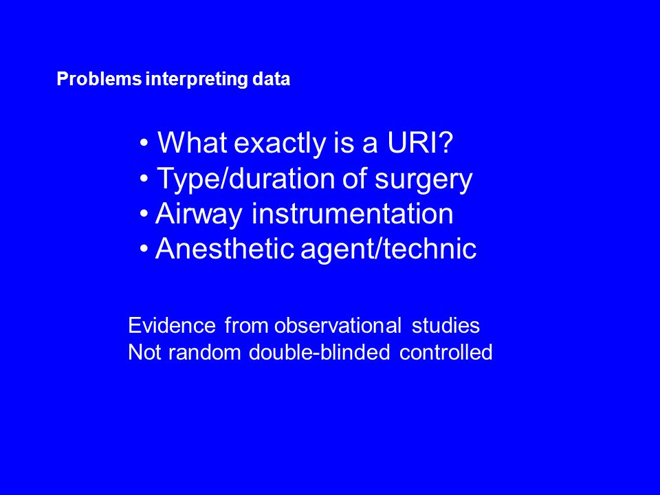 Type/duration of surgery Airway instrumentation