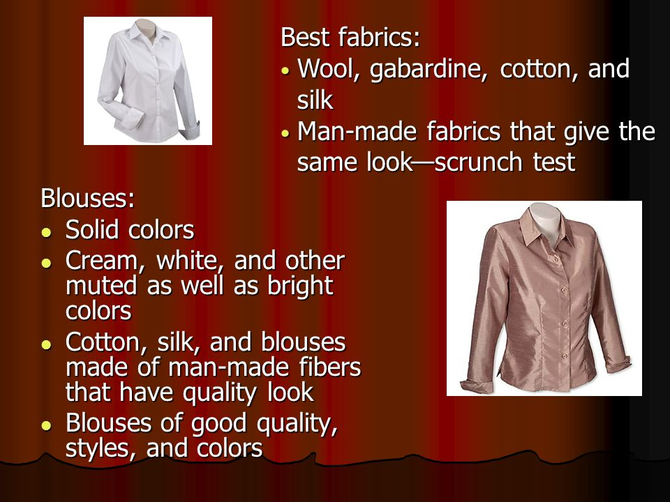 Wool, gabardine, cotton, and silk