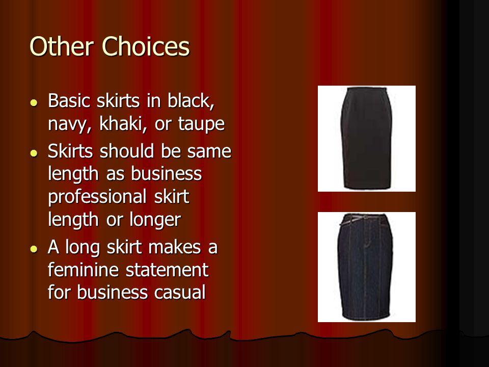 Other Choices Basic skirts in black, navy, khaki, or taupe