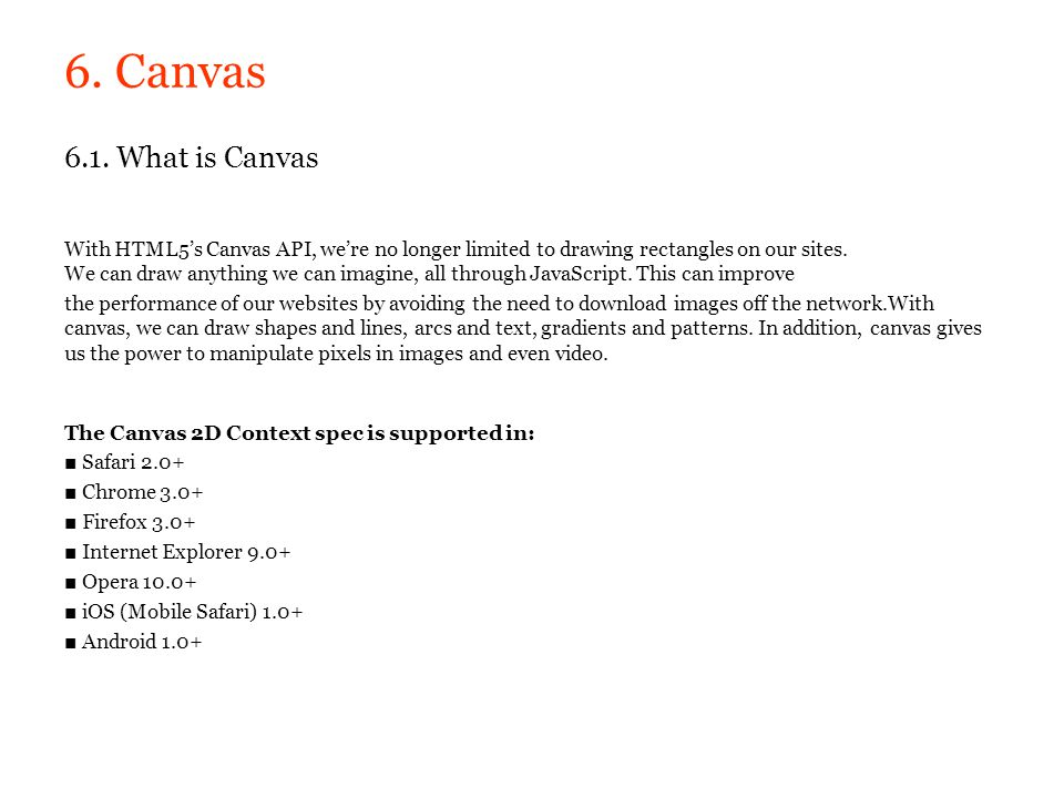 6. Canvas 6.1. What is Canvas.