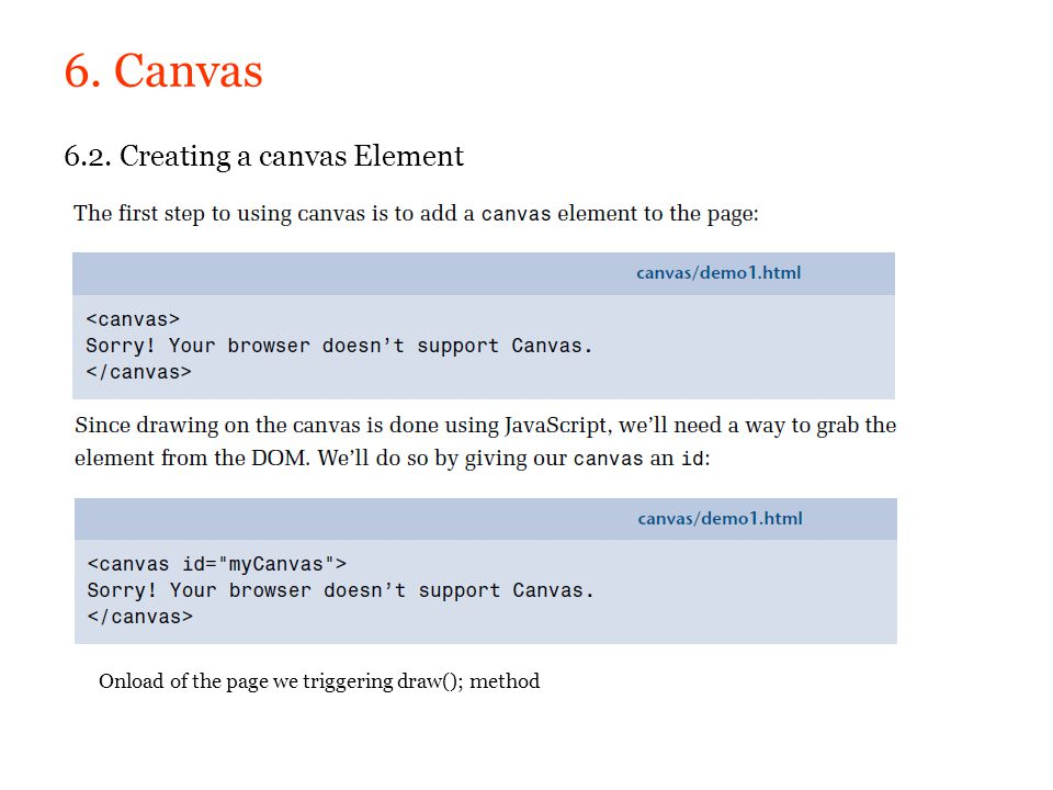 6. Canvas 6.2. Creating a canvas Element