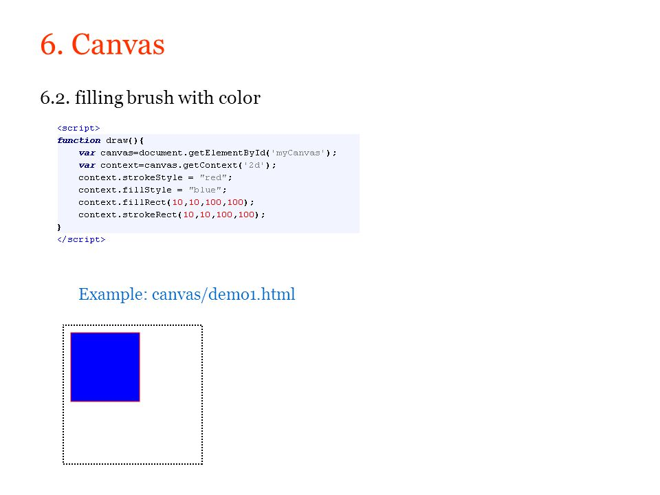 6. Canvas 6.2. filling brush with color Example: canvas/demo1.html