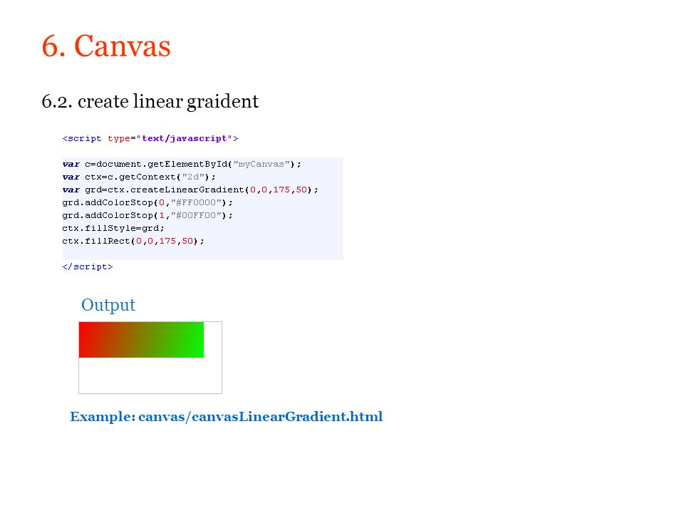 6. Canvas 6.2. create linear graident Output